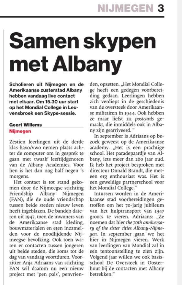 Artikel De Gelderland over FANfan